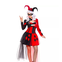 Amazing Classic Harley Quinn Costume Cosplay Adult Women Fantasia Clown Performance Uniform Circus Funny Dress Outfit