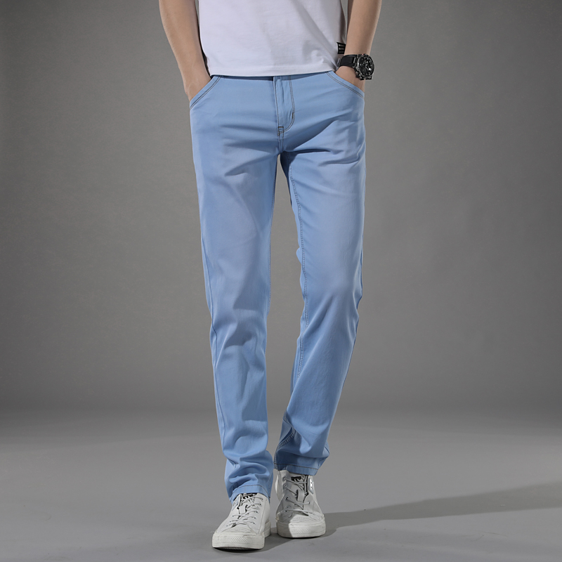 Summer New Men's Stretch Slim Jeans Light Blue Fashion Casual Classic Style Thin Skinny Trousers Male Brand Pants