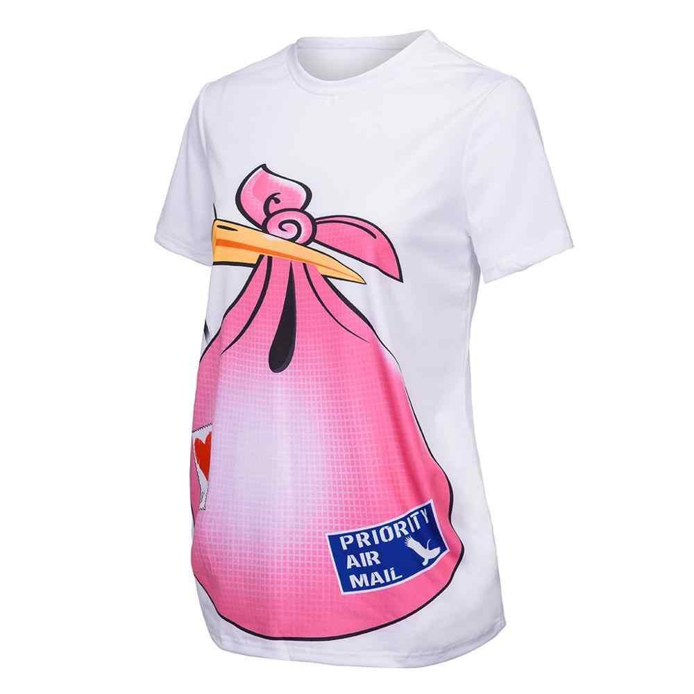 MUQGEW одежда для кормления Милая Повседневная футболка с забавным рисунком и короткими рукавами Топы для беременных, футболка для малышей