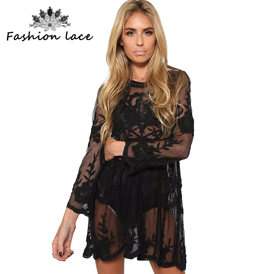 Buy Cheap Fashion Trendy Summer Women Beach Dress Elegant O Neck Lace Floral Crochet Hollow Out Solid Beach Dress