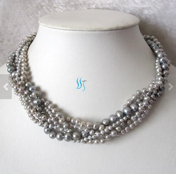 New Arriver Pearl Jewelry Wedding Pearl Multistrand Pearl Necklace 18 inches 5 Rows Gray Color Freshwater Pearl NecklaceNew Arriver Pearl Jewelry Wedding Pearl Multistrand Pearl Necklace 18 inches 5 Rows Gray Color Freshwater Pearl Necklace