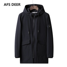 2019 Brand Spring Autumn New Fashion Trench Jacket Coat Men Long Style Outwear W