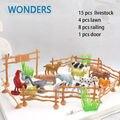 """15 unids/pack animales de granja juguetes 2 """" Animal vaca ovejas perro ganso de la familia de la alimentación de aves de corral valla juguete modelo de simulación para los niños"""