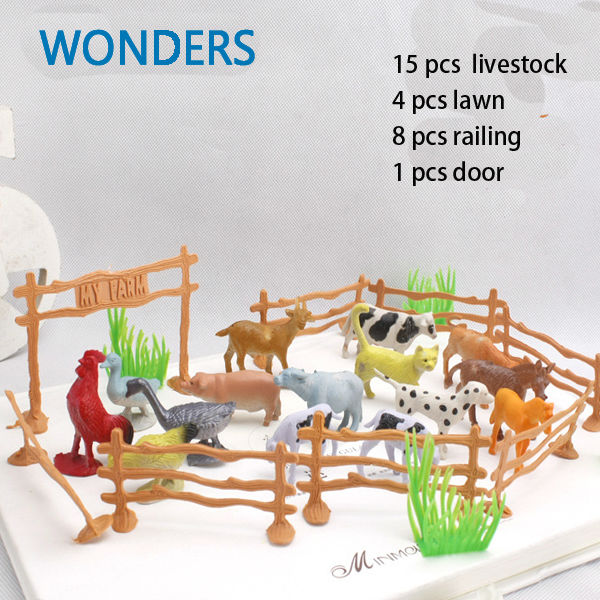 15pcs/pack Farm Animals Toys  2 Animal cow dog sheep goose  Family Farm Poultry Feed Fence Simulation Model toy for Children feed your family right