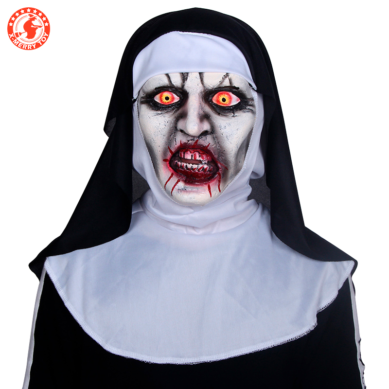 Hot Sale Popular Realistic Halloween Scary The Conjuring Nun Latex ... d1de008ca7cc