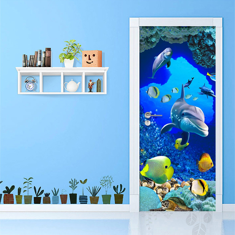 PVC Self-Adhesive Waterproof Door Sticker 3D Undersea Dolphin Photo Wall Murals Children's Bedroom Creative DIY Wall Sticker 3 D