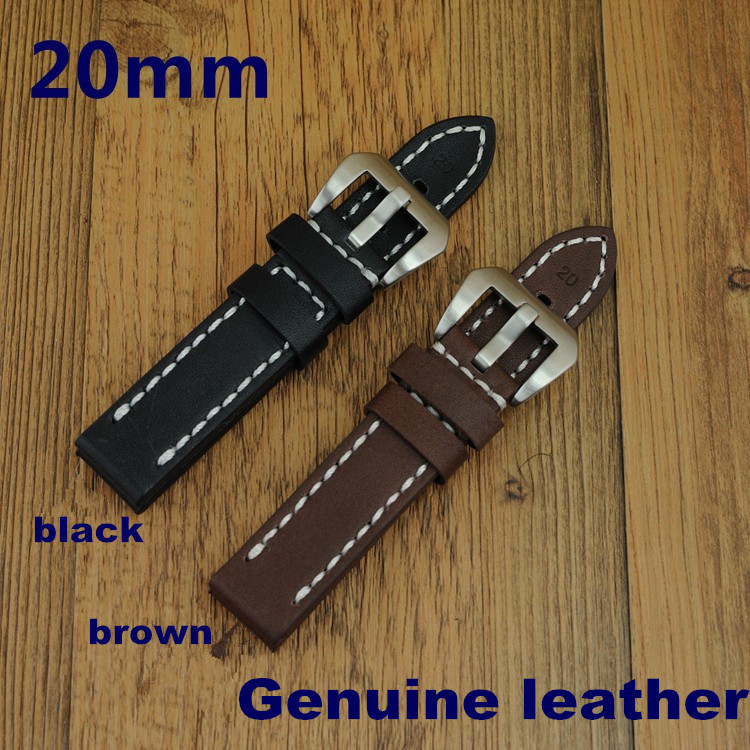 Wholesale 50PCS / lot 20MM ,22MM ,24MM,26MM genuine cow leather Watch band watch strap ( black ,coffee color) -WBG001 1pcs high quality 18mm 19mm 20mm 22mm 24mm genuine cow leather watch band watch strap coffee black white color