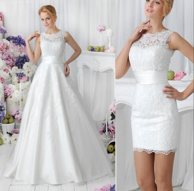 Vintage 2 in 1 Lace Country Wedding Dresses With Detachable Skirt ...