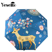 Yesello Flowers Elk Original Design Women's Umbrella Oil Painting 3 Folding Parasol Lady Portable Girl Friend Gift For Wife Kids(China)