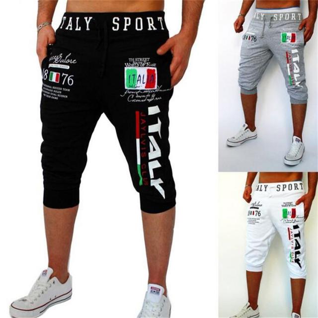 Ropa de Los Hombres Pantalones Casuales 2016 Carta Impreso Cintura Elástica Pantalones Sueltos pantalones de Chándal de Hip Hop Harem Pantalones Verano Playa Del Desgaste 2XL