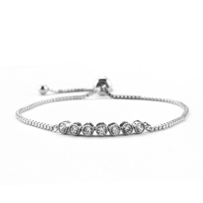 WEIMANJINGDIAN Brand Elegant Round Cubic Zirconia Crystal Zircon Adjustable Bracelet in Silver or Rose Gold Colors Plated