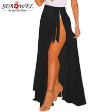 SEBOWEL 2019 Summer Sexy Beach Boho Skirt Women Chiffon Long Maxi Female Asymmetrical Split White Black Sheer Wrap