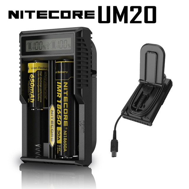 Original New Arrival Nitecore Smart Battery Charger  UM20 Digicharger LCD Display Universal USB Power For Li ion Battery
