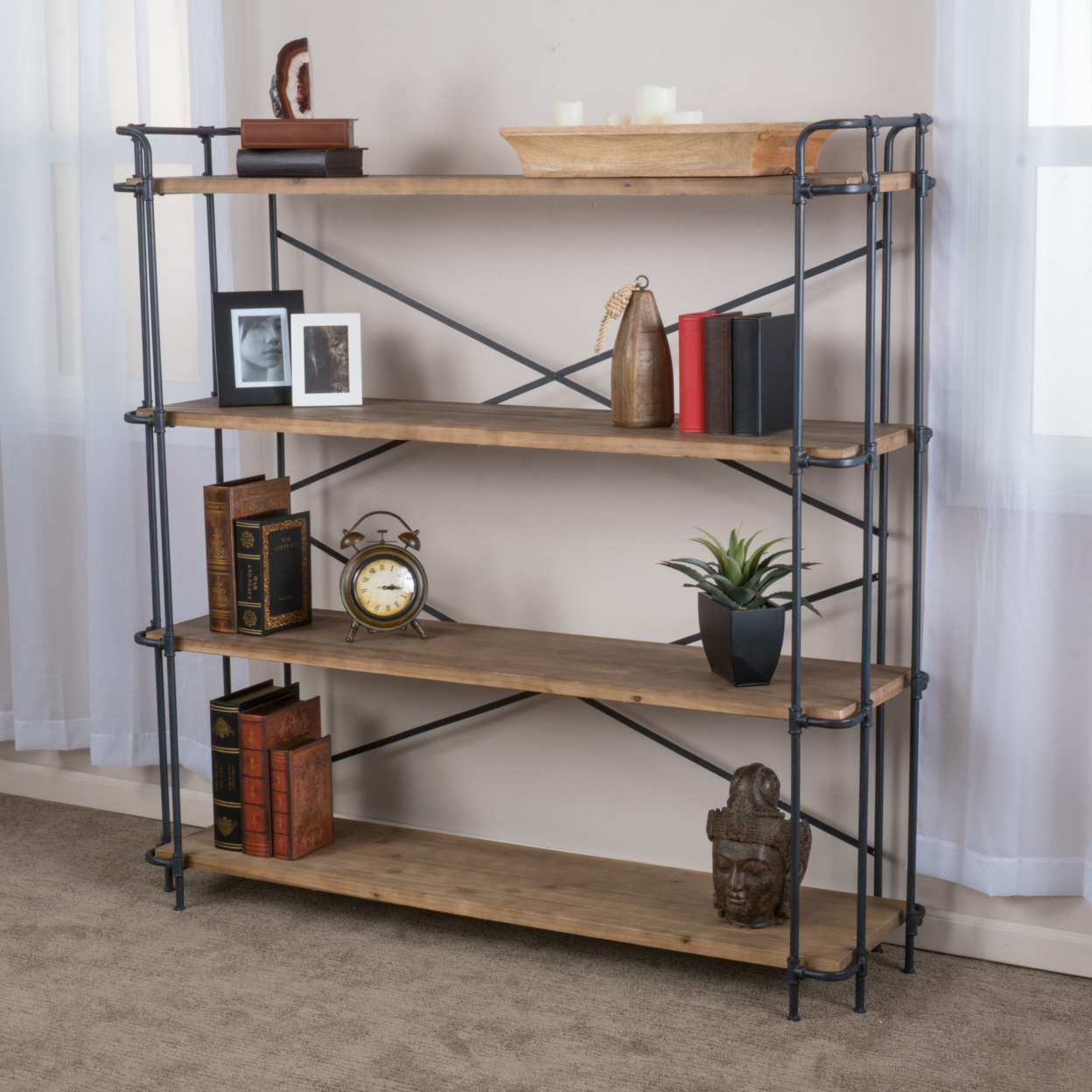 Denise Austin Home Mercia 4-Shelf Bookcase цена