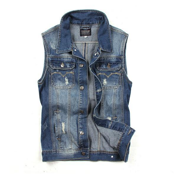 2016 New Fashion Spring Autumn Mens Denim Vest Jacket Men Casual Cowboy Vests Sleeveless Jean Jackets Colete Masculino DKJ013