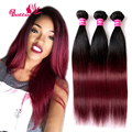 Ombre Brazilian Straight Virgin Hair 3 Bundle Deals Two Tone Human Hair Weave 1b/99J Burgundy Wine Red Ombre Straight Hair Weave