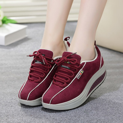 New 2016 Sneakers For Women Fashion Ladies Casual Swing Slimming Shoes  Female Casual Platform Walk Shoes Women s Wedges Sneakers-in Women s Flats  from Shoes ... 7c2cf4575f1f