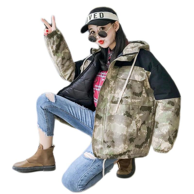 À Khaki rembourré Camouflage Coréenne Veste Cool Coton Dark Khaki Capuchon D'hiver Automne Étudiants Cardigan Beau light Épais Et A375 Coton Manteau q6vtpwFn6U