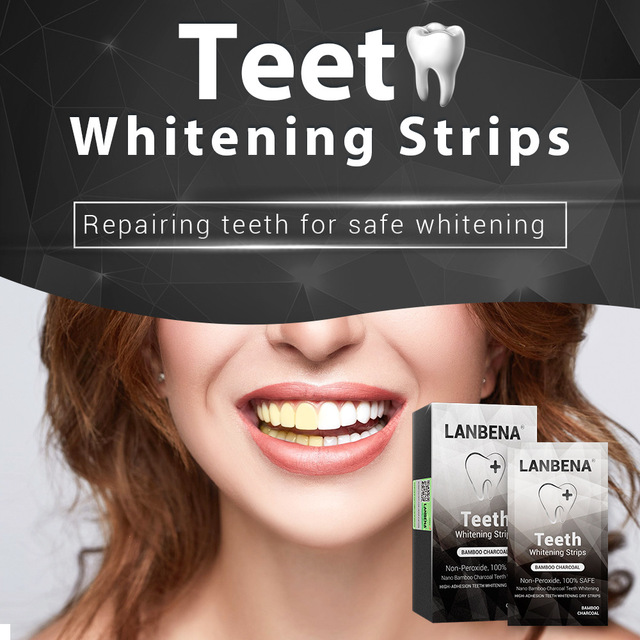 LANBENA Bamboo Charcoal Teeth Whitening Strips Oral Teeth Hygiene Removes Plaque Stains Tooth Daily UseTeeth Care 7 Pairs / Box