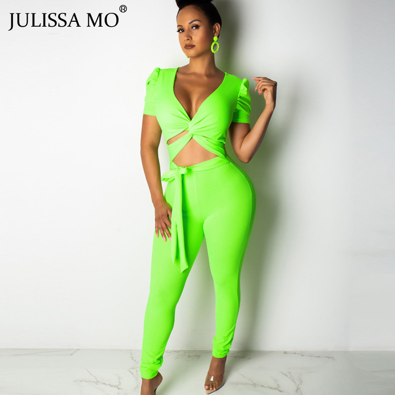 JULISSA MO Neon Green 2 Piece Set Sexy Bandage   Jumpsuit   Women Lace Up Hollow Out Rompers Womens Outfits Summer Casual Overalls