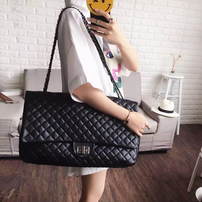 2018 Large Chain Bag Women PU Handbag Men Ladies Leather Shoulder Bag Maxi Big Diamond Lattice Classic Black Flap Neverfull Tote women s maxi pencil skirt in pu leather