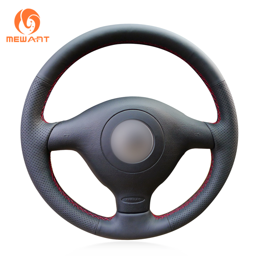 Black Genuine Leather Car Steering Wheel Cover for Volkswagen VW Golf 4 Passat B5 1996-2003 Polo 1999-2002 Seat Leon 1999-2004 наклейки tcs volkswagen polo 2004 vw polo