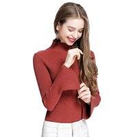 Sweater Women Winter New Sweater Korean Version Of The Half Neck Collar Horn Sleeve Thick Slim