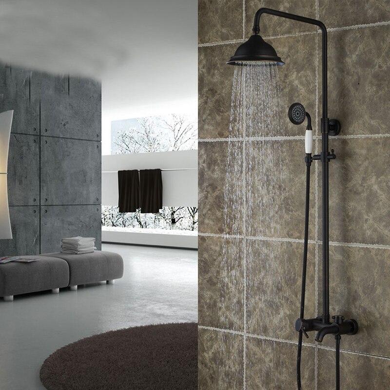 Oil Rubbed Bronze Rainfall Shower Head Faucet Set Tub Spout Hand Shower Sprayer Mixer Tap Wall Mounted 8 Rainfall Shower