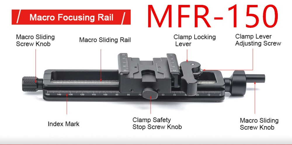 SUNWAYFOTO MFR 150 Macro Focusing Rail MRF 150S Macro Focusing Rail with screw knob clamp 4