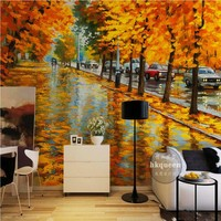 Free Shipping Golden Leaf Road Reflections After The Rain Abstract Tree Living Room Restaurant Bedroom Wallpaper