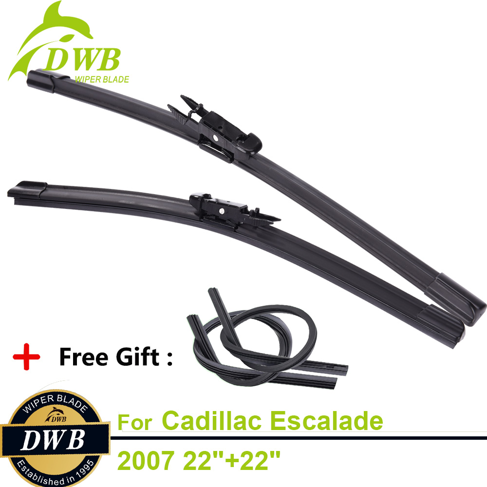 2PCS ECO Wiper Blades for Cadillac Escalade 2007 22+22, Free 2Pcs Rubbers, All Season Changing Wipers