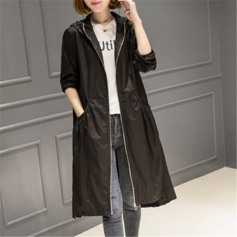 2019 Spring Autumn New Fashion Women Casual Hooded Long   Trench   Coat Female Slim Solid Thin Outerwear Plus Size Windbreaker FC135