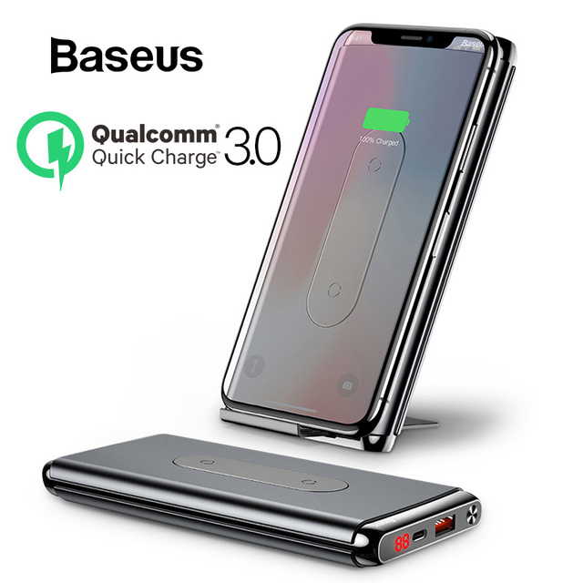 Baseus Wireless Power Bank 10000mah For iPhone XR Xs Max Portable External Battery Pack LCD Display QC3.0 Fast Charger Powerbank