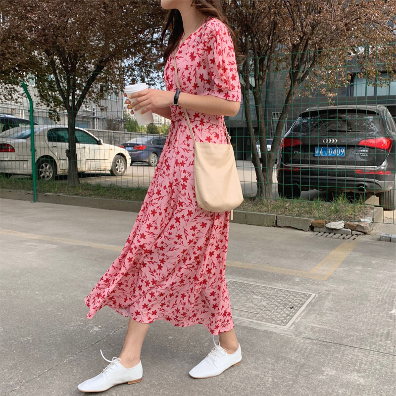 e23599b1c5b3f RUGOD 2019 Summer Women Floral Dress O neck Short Sleeves Spilt Hem ...
