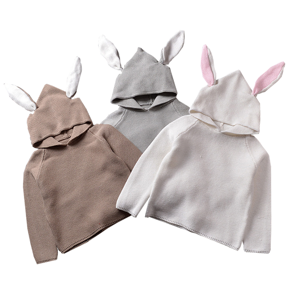 QUIKGROW Quality Textured Cotton Warm Knitwear Baby Boy Girl Long Sleeve Sweater Cute Bunny Rabbit Hooded Outwear Tops YM26MY