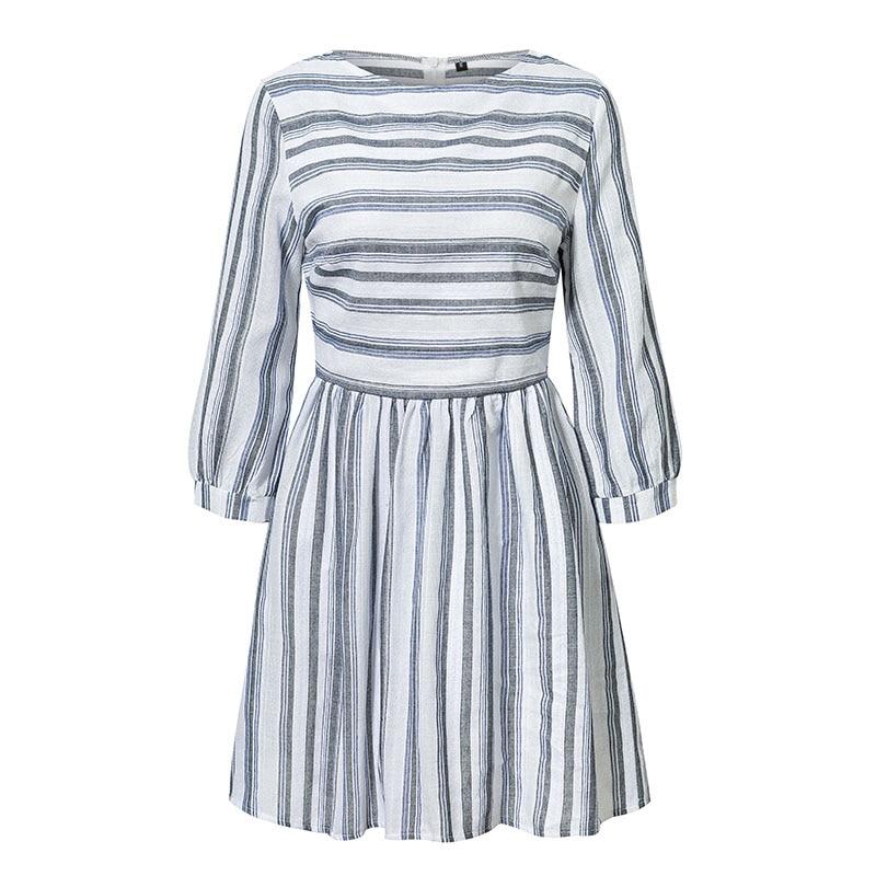 Elagant Striped O-Neck Beach Mini Dress 6
