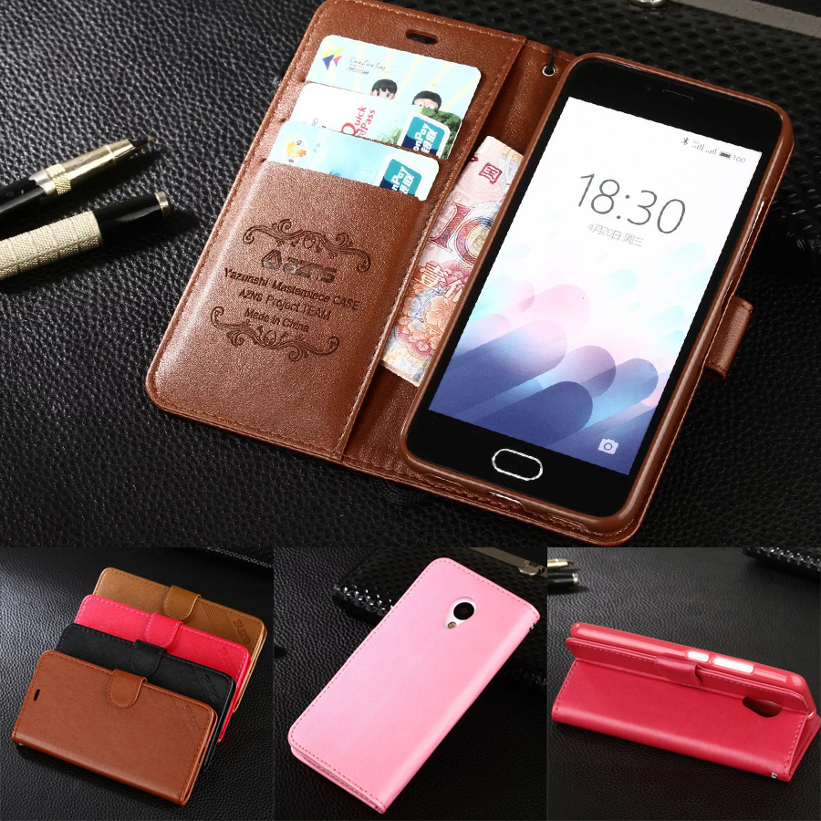 azns Case For Meizu M3 mini Luxury Wallet Leather Case Stand Flip Card Hold Phone Cover Bags For Meizu M3 mini Meilan 3 5.0