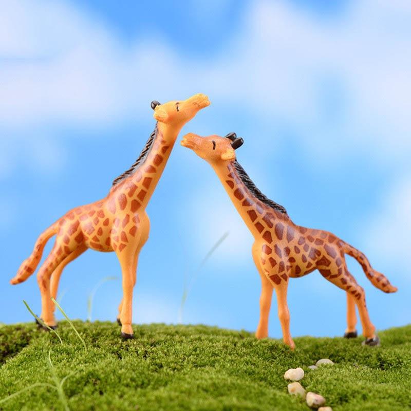 6 pcs/set Garden Micro Landscape Decorations DIY Doll House Deer Giraffe Crafts Fairy Home Miniatures Terrariums Succulents