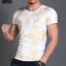 M-4XL! Новинка Для мужчин одежда Большие Размеры Мода в стиле барокко bronzier тонкий хлопок печати обтягивающие футболка певица костюмы