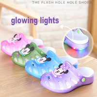 Mini Melissa Sandals Girls Summer Gelly Footwear Led Light Holes Beach Shoes Baby Boys Kids Sandals