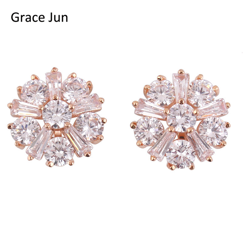 Grace Jun 2017 New Design Full Cubic Zircon Clip on Earrings Wihtout Piercing for Women Luxury Jewelry Accessory Christmas Gift