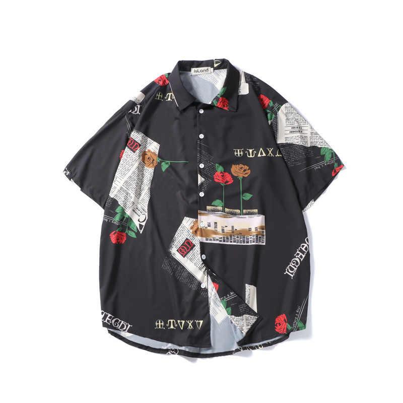 男性印刷シャツ男性ファッションデザインヒップホップストリートショーツスリーブシャツ韓国スタイルのパンク絶賛デザイナーカジュアルシャツ