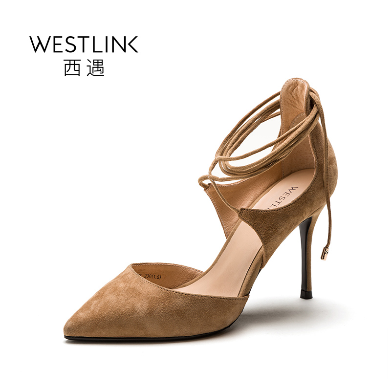 ФОТО Westlink 2017 Spring New Genuine Leather Straps Pointed Thin High Heels Women Pumps Black Apricot