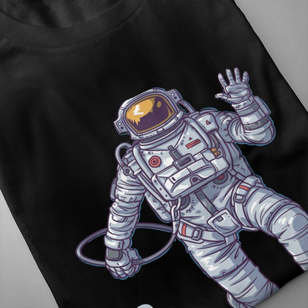 T Shirt Astronaut Litcoin T shirt Unisex New Custom Homme Tee Shirt Crewneck Free Shipping Camiseta Birthday GIft Tees in T Shirts from Men 39 s Clothing