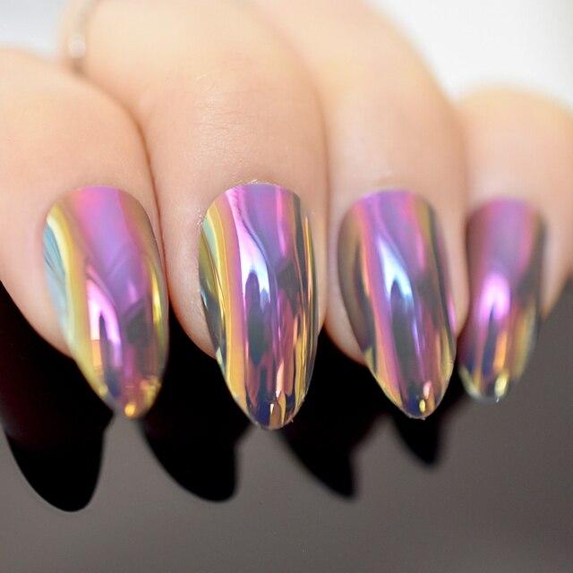 Chameleon Mirror Acrylic Nail Short Stiletto Nails Full Cover False Tips Salon Manicure Tool Purple