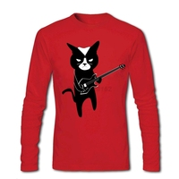 Black Metal Cat Shirts Men S Spring Trendy Apparel Musical Cat Tops Awesome DIY Big Size