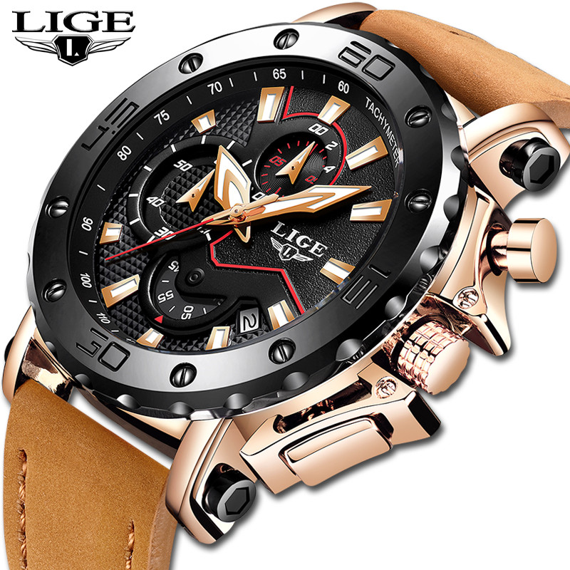 LIGE Men Watches Male Business Date Chronograph Waterproof Quartz Watch Mens Casual Leather Large Dial Military Watch RelogioLIGE Men Watches Male Business Date Chronograph Waterproof Quartz Watch Mens Casual Leather Large Dial Military Watch Relogio