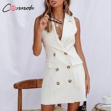 Conmoto Stripe Sleeveless Office Short Dress Women 2019 Autu