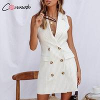 Conmoto Stripe Sleeveless Office Short Dress Women 2019 Autumn Winter Bodycon Pocket Blazer Dress Button Business White Dress