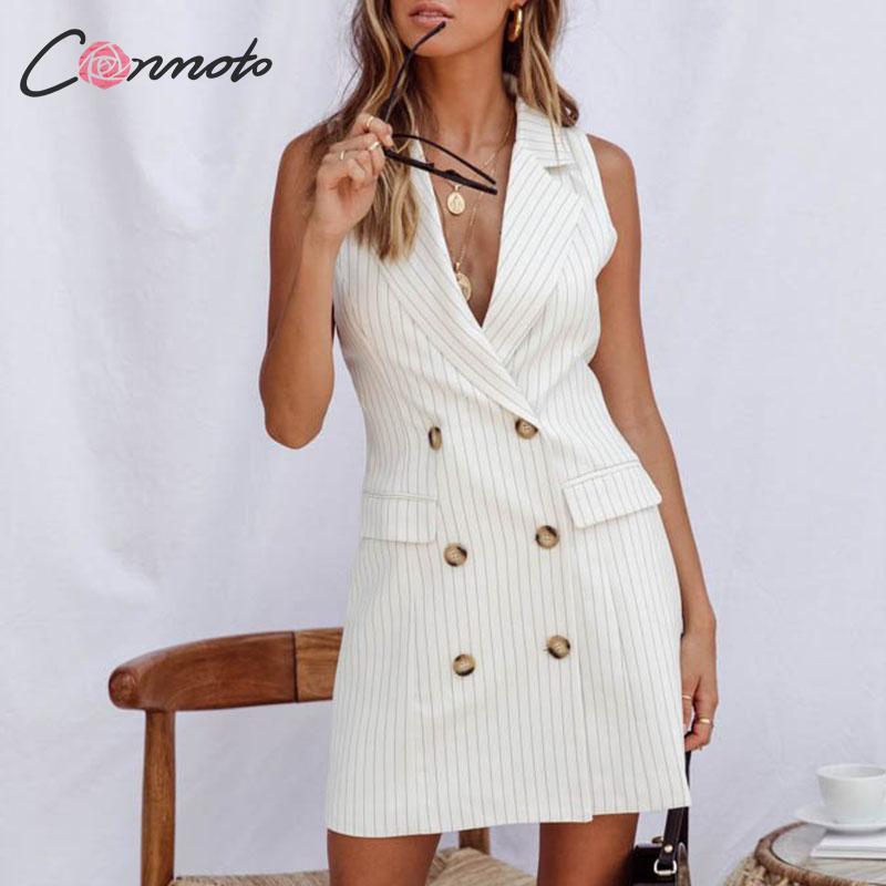 Conmoto rayure sans manches bureau courte robe femmes 2019 automne hiver moulante poche Blazer robe bouton affaires blanc robe